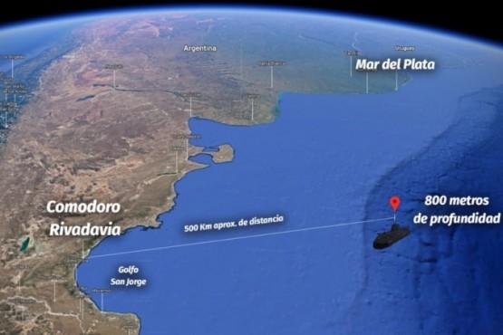 El lugar exacto donde fue hallado el submarino ARA San Juan