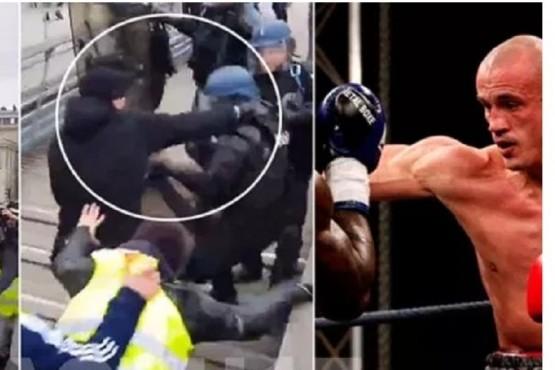 Un boxeador se enfrentó a la policía para defender a los chalecos amarillos