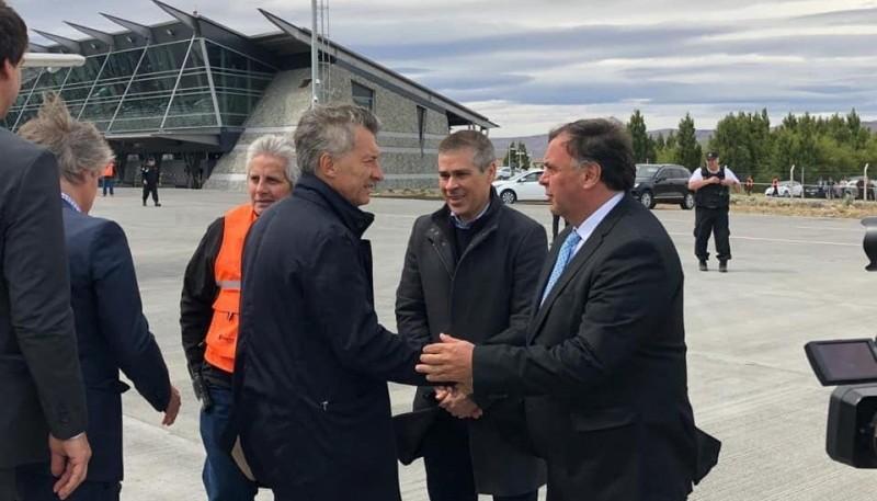 Mauricio Macri junto a Vicegobernador Pablo Gonzalez y el Intendente de El Calafate