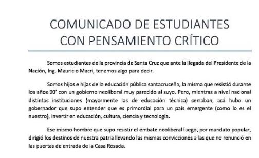 Estudiantes críticos sobre la llegada de Macri a Santa Cruz