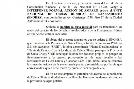 Santa Cruz presentó un amparo por el traspaso de la Planta de Osmosis Inversa
