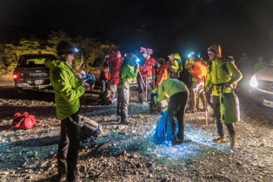 El grupo de rescate que salió en busca de los brasileños en el Fitz Roy.