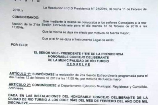 Se suspendió la jura de la intendente interina de Rio Turbio