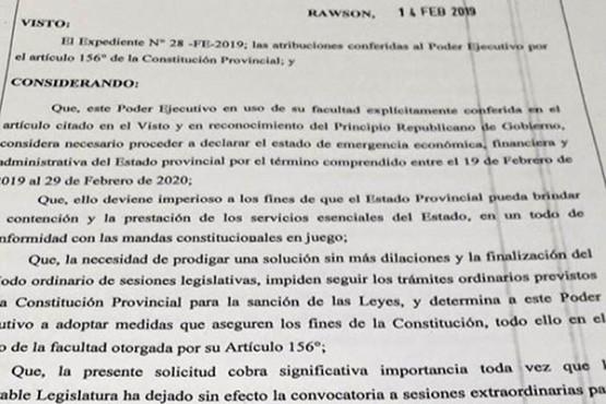 Entró a Legislatura el decreto para prorrogar la Emergencia Económica