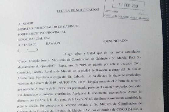 Por el IPV Arcioni deberá responder ante la Justicia