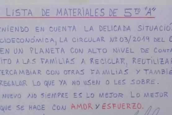 Se hizo viral la 'lista de materiales' que realizó un docente