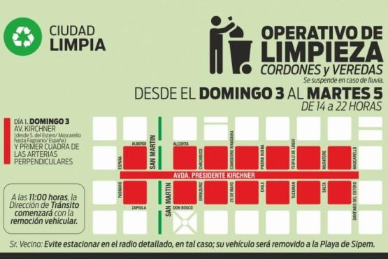 Operativo de limpieza en avenida Kirchner y San Martín