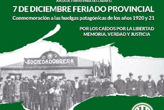 ATE impulsa el feriado provincial por las Huelgas Patagónicas
