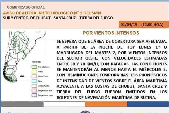 Rige alerta meteorológico por vientos intensos en Santa Cruz