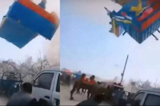 Video: un tornado mortal se llevó un castillo inflable con chicos en el interior