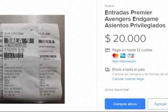 """""""Avengers Endgame"""": venden entradas para la primera función a 20 mil pesos"""