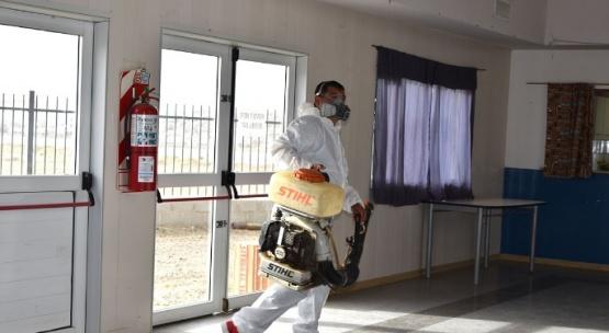 Caleta Olivia: desinfectaron espacios municipales