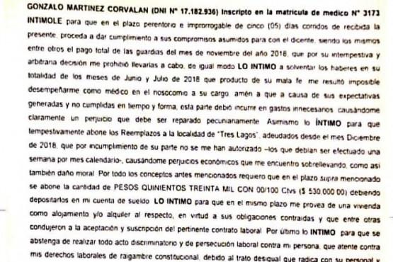 Carta Documento enviada por el Dr. Corvalán al director Blanco.