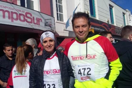 Costa y Ricci, ayer poco antes de comenzar la Corrida Aniversario TiempoSur.