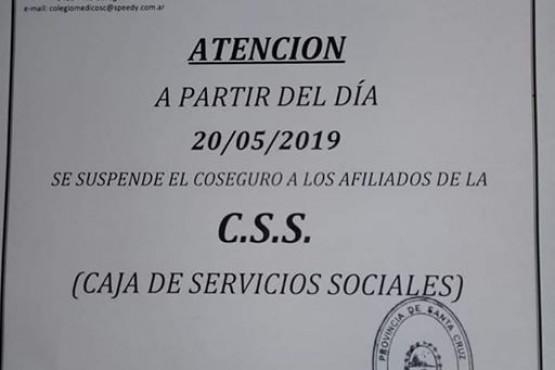 Se suspende el coseguro a los afiliados de la C.S.S