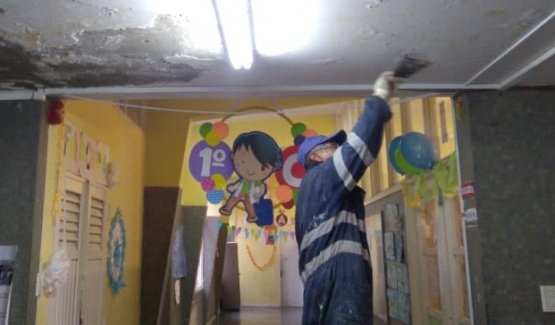 Realizaron tareas de mantenimiento en la Primaria 11