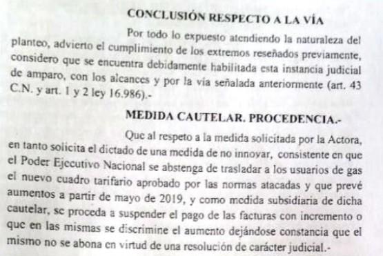 Fiscal declaró admisible el amparo contra la suba del gas