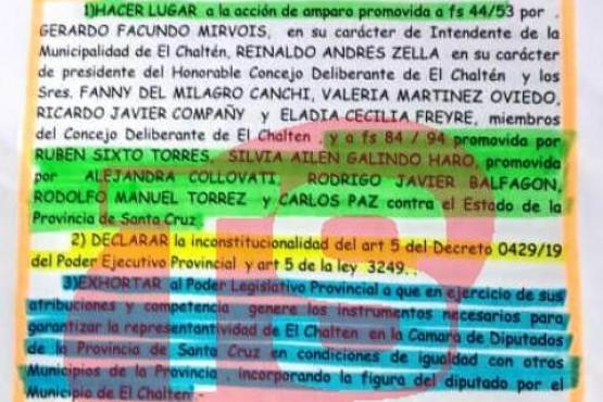 Jueza declaró inconstitucional articulo 5 de Decreto y pidió representatividad para El Chaltén