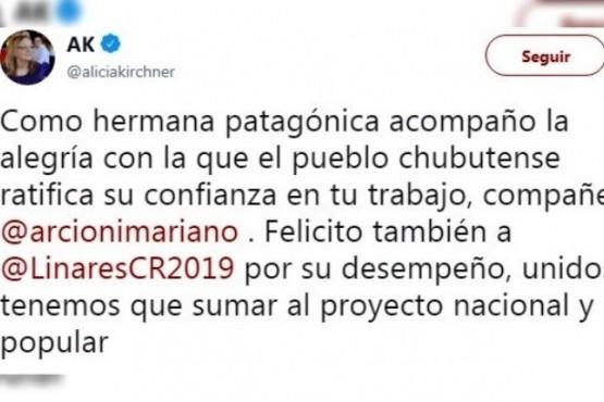 """Alicia Kirchner a Arcioni: """"El pueblo ratifica su confianza en tu trabajo"""""""