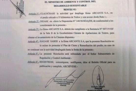 Ambiente ordenó la clausura del basural de pesca de la firma Arcante