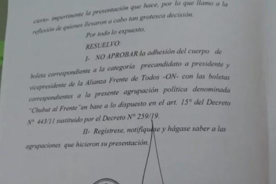 La justicia electoral no autorizó que la boleta de Chubut al Frente vaya adherida a la de Alberto y Cristina