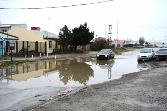 Una de las calles afectadas tras las lluvias.