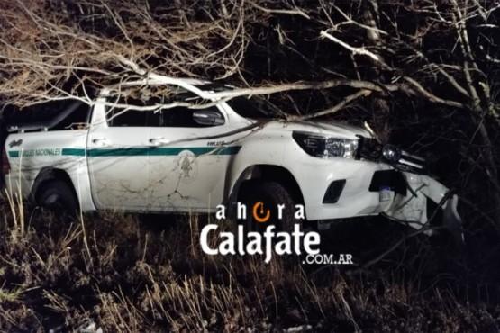 Camioneta de APN despistó en el acceso al Glaciar y terminó entre los árboles
