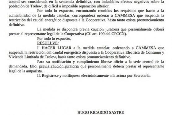 Sastre aceptó un amparo y Cammesa no podrá restringirle la energía a Trelew