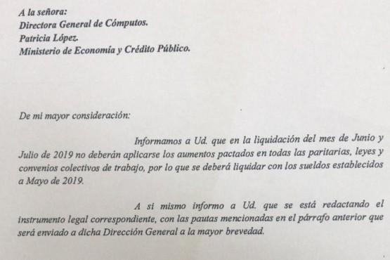 El gobierno liquidará el sueldo de julio sin los aumentos acordados