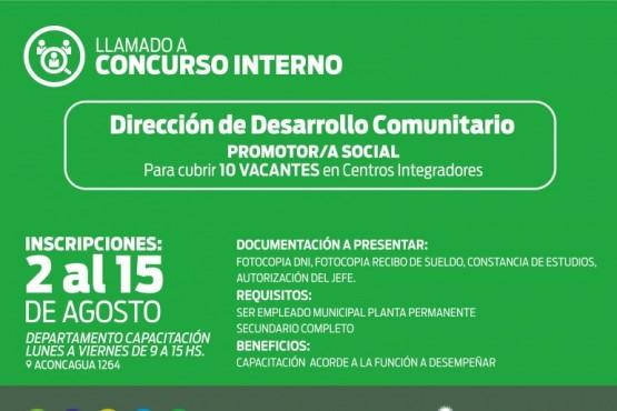 Concurso: Desarrollo Comunitario busca promotores sociales
