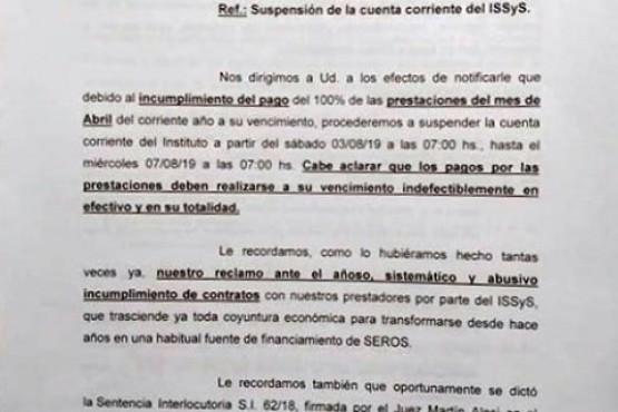 SEROS: los prestadores médicos vuelven a cortar el servicio a partir de hoy