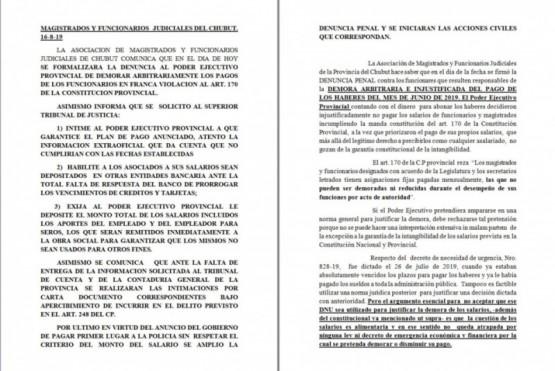 Magistrados denunciaron penalmente a Arcioni y funcionarios del Gobierno