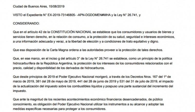El DNU de Macri ayer en el Boletín Oficial.
