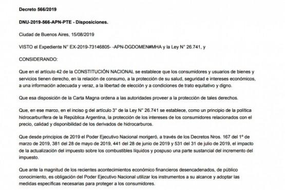 Santa Cruz estudia presentar medidas judiciales para frenar la aplicación del DNU que congela el precio de las naftas