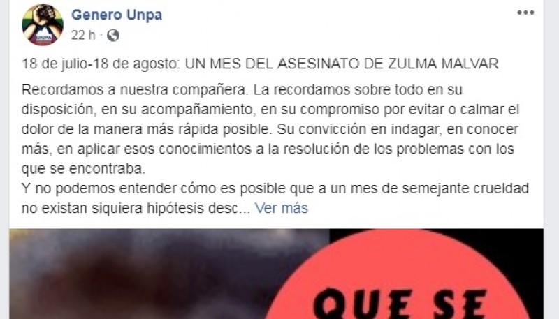 Desde la Comisión exigen justicia por Zulma Malvar.