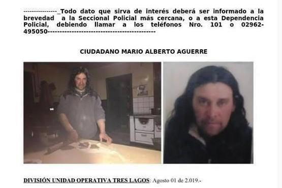 Circulan con los datos de Aguerre solicitando su búsqueda.