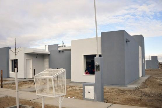 Las viviendas que brindó el IPV a las familias de Gaimán.