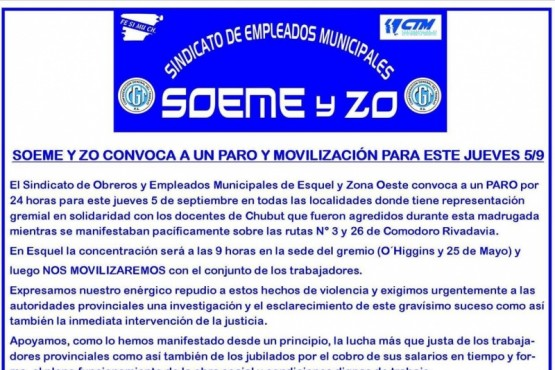 Paro y movilización del SOEMEyZO