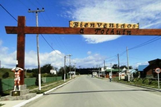Ingreso a la ciudad de Tolhuin.