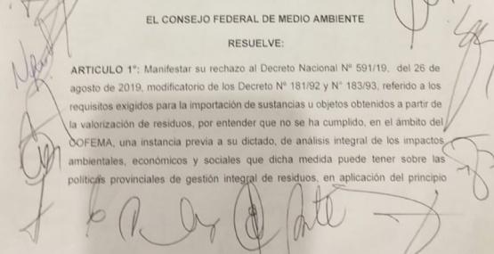 El documento firmado por el COFEMA.