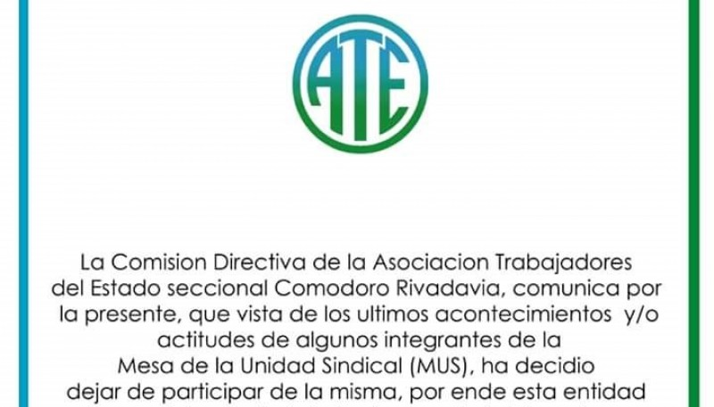 ATE anunció su alejamiento a través de un comunicado de prensa.