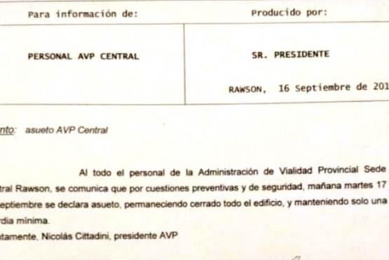 El escrito firmado por Cittadini, donde comunica que el edificio estará cerrado.