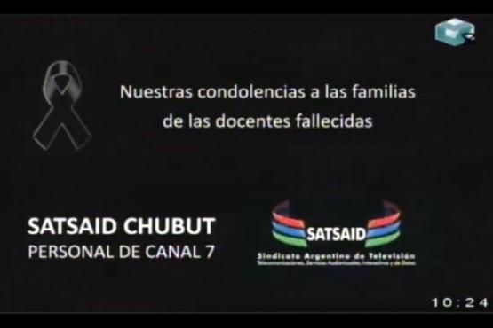 Canal 7 envió condolencias a las familias de las docentes fallecidas