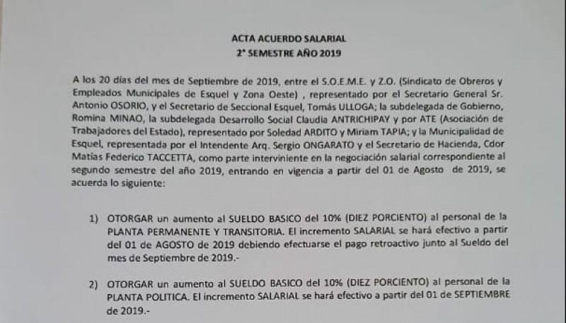 El escrito del acuerdo salarial.