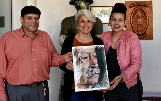 El cuadro pintado en vivo también fue donado.