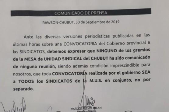 El comunicado oficial de la MUS.