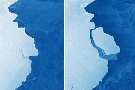 En la imgen tomada se ve el desprendimiento del bloque de hielo.