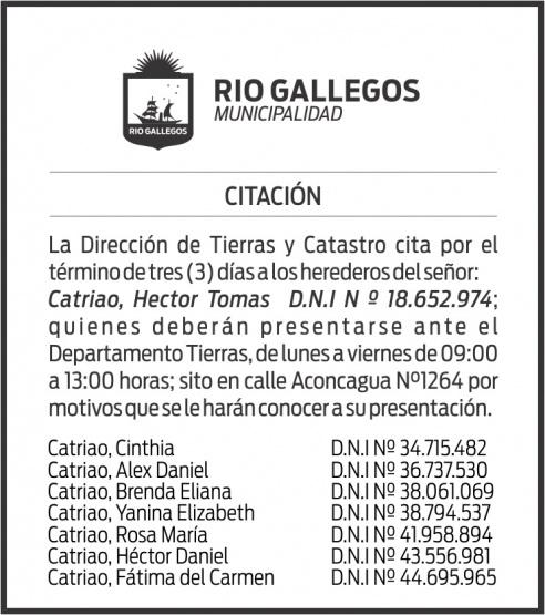 CITACIÓN DIRECCIÓN DE TIERRAS Y CATASTRO