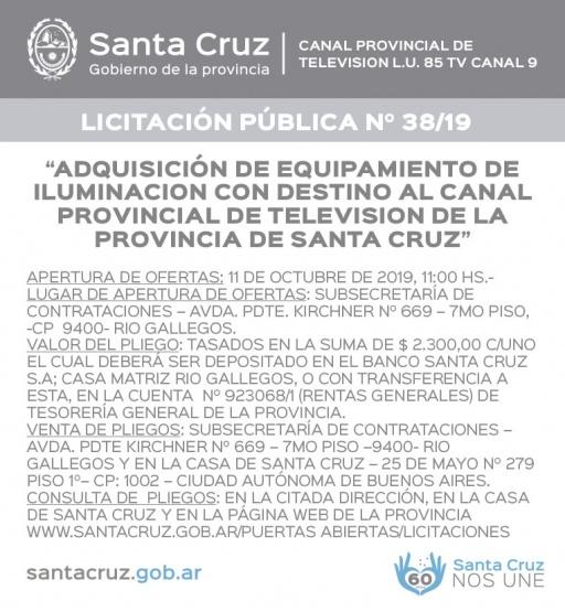 LICITACIÓN PÚBLICA N°38/19- Canal Provincial de Televisión