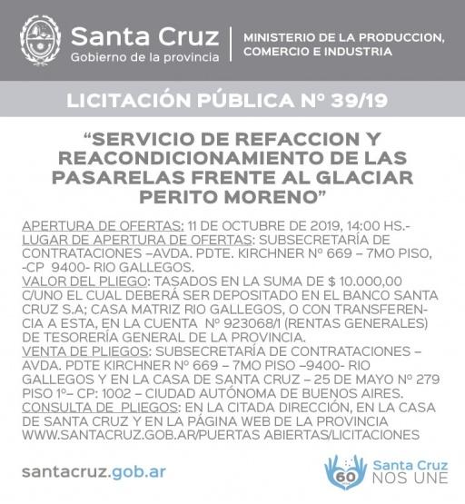 LICITACIÓN PÚBLICA N°39/19- Ministerio de Producción